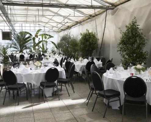 Galerie, Palmenhaus-München, Tische elegant eingedeckt